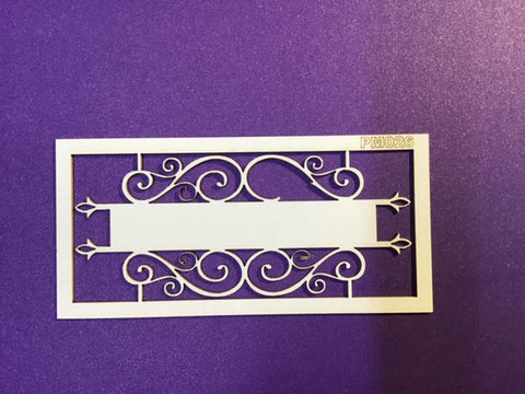 The Purple Magnolia chipboard PM026 Swirly banner solid