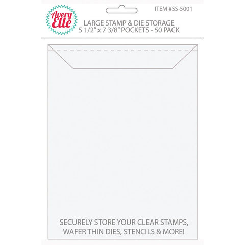 Plastic envelope for stamp and die storage 5,5x7,25 inches  - 10 pack