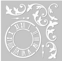 Fabscraps stencil C118 whimsical clock