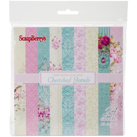 Scrapberry's Cherished jewels paper pack - 24 sheets  15x15 mm