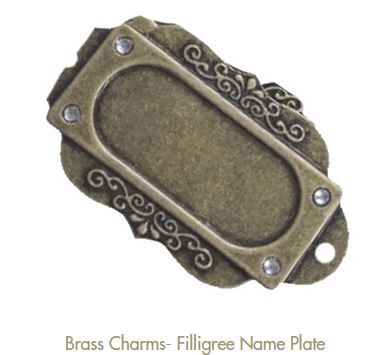 Metal charm Filigree nameplate by Fabscraps
