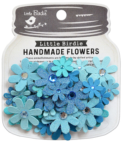 Little birdie flowers sparkle aqua