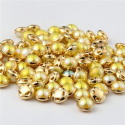 Pearl buttons with metallic-coloured ring for flower centres - Bright yellow - 10pack