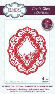 Creative Expressions  - Sue Wilson poinsettia filigree frame CED3050