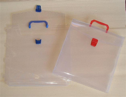 Scrap paper plastic storage bag with clasp and handle