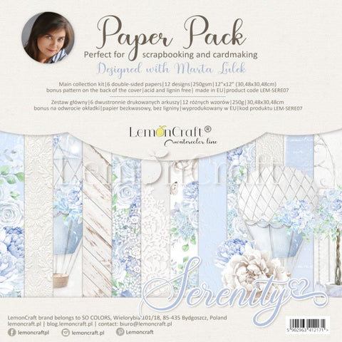Lemoncraft Serenity 15x15 paper pack plus cut-out sheet