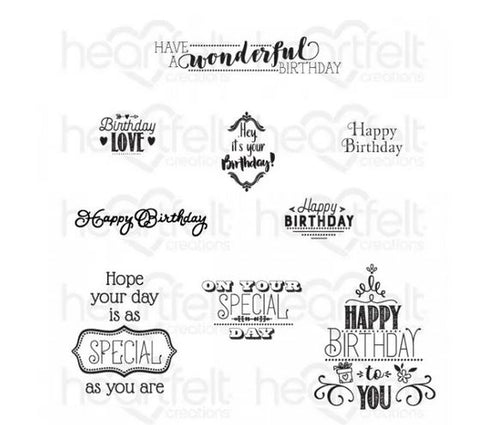 Heartfelt Creations -Special birthday sentiments stamp set