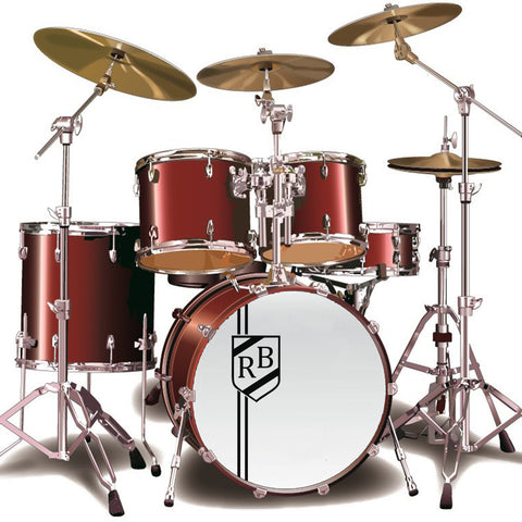 Custom Initials Shield Bass Drum Sticker
