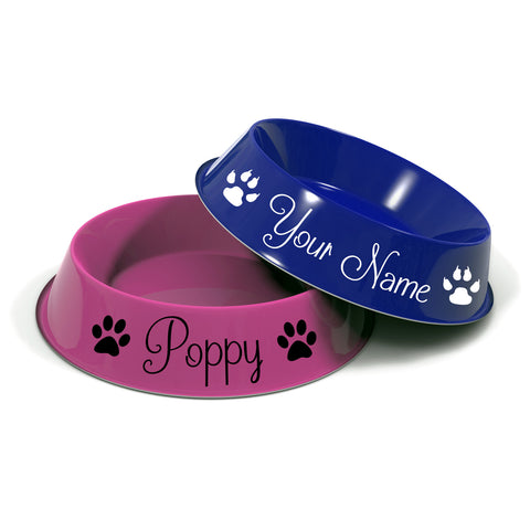 2 x Personalised Pet Name Stickers with Paw Prints (for food bowls)