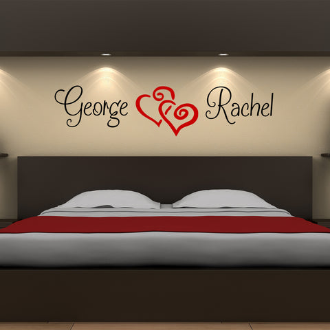 Double Name Twin Hearts Custom Wall Art