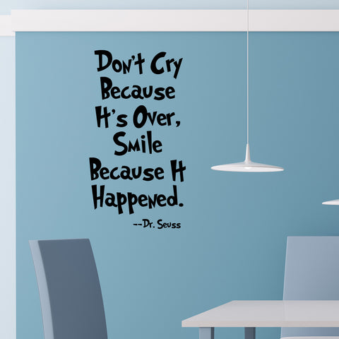 Don't Cry Because It's Over, Smile Because It Happened - Wall Quote