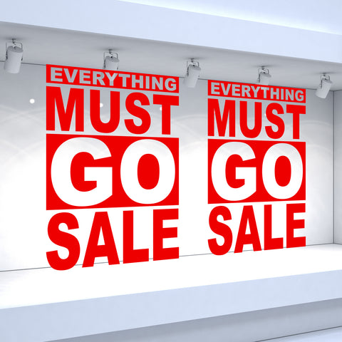 2 x EVERYTHING MUST GO SALE - Retail Window Decals