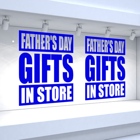 2 x FATHER'S DAY GIFTS IN STORE - Retail Window Decals