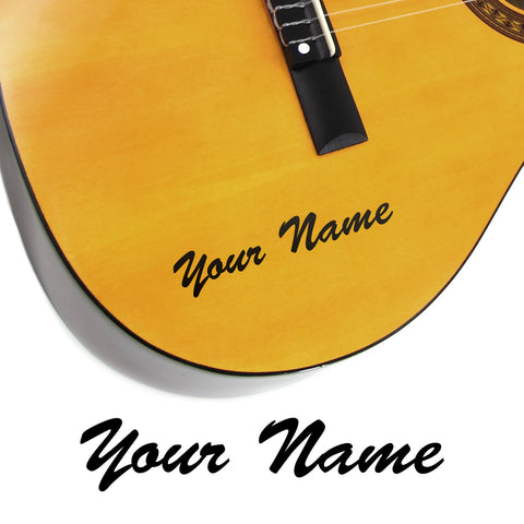 2 x Custom Name Guitar Stickers - Brush Script Style