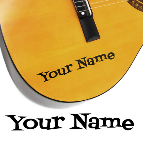 2 x Custom Name Guitar Stickers - Cartoon Style