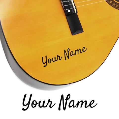 2 x Custom Name Guitar Stickers - Cool Script Style