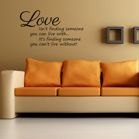 Love Isn't Finding Someone... Wall Art Quote