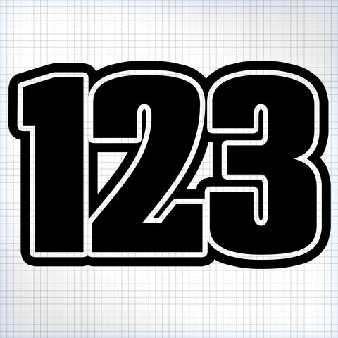 3 x Custom Race Numbers - Chubby Style – Vinyl Sticker Shack