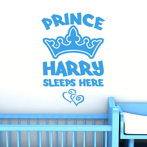 Personalised Prince Name Wall Sticker with Crown and Hearts