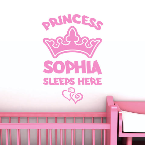 Personalised Princess Name Wall Sticker with Crown and Hearts