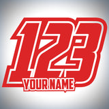 3 x Custom Race Numbers With Name - Classic Race Style - Up to 150mm