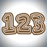 3 x Custom Race Numbers - 3D Style - Up to 150mm tall