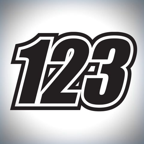3 x Custom Race Numbers - Standard style with outline - Up to 150mm tall - Bikes/Karts/Quads