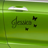 2 x Personalised Name Car Stickers With Butterflies