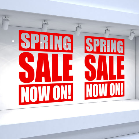 2 x SPRING SALE NOW ON! Retail Window Decals