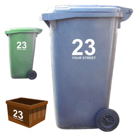 3 x Custom Wheelie Bin Stickers - Standard Style