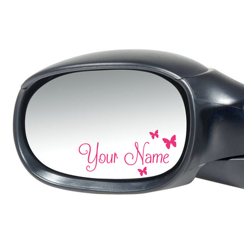 2 x Personalised Name Wing Mirror Stickers With Butterflies