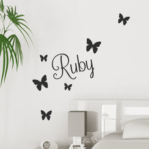 Personalised Name Sticker with Butterflies