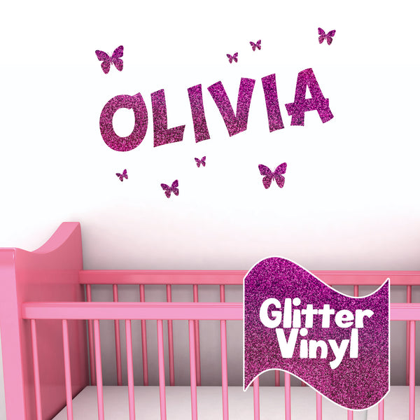 Personalised glitter effect wall name sticker with butterflies vinyl sticker shack