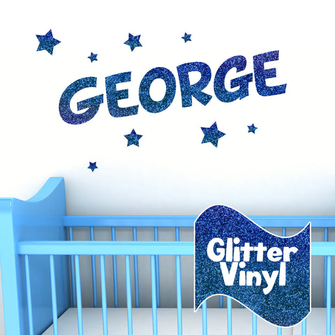 Personalised Glitter Effect Wall Name Sticker with Stars
