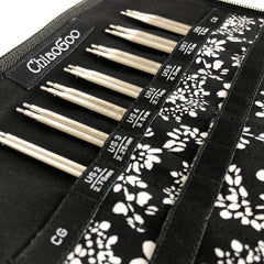 "Twist 4"" (10 cm) 7400-S Small Stainless Steel Interchangeable Knitting Needles Set - ChiaoGoo Needles Close up"