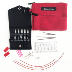 "Twist Shorties Red Lace Mini 2"" & 3"" (5 & 8 cm) 7230-M Stainless Steel Interchangeable Knitting Needles Set - ChiaoGoo"