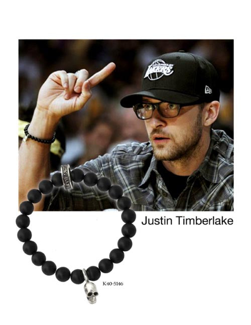 JUSTIN TIMBERLAKE WAS SPOTTED AT THE NBA FINALS SPORTING A KING BABY ONYX BEAD BRACELET!