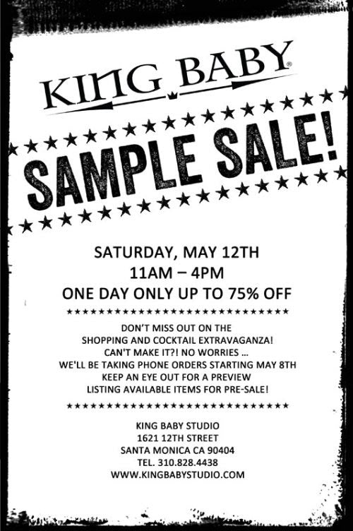 KING BABY SAMPLE SALE!