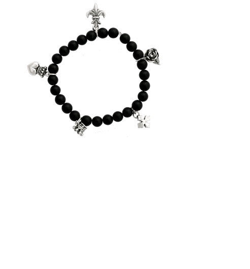 8mm Black Onyx Bead Bracelet with Five Silver Charms.