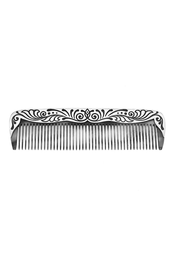 One-of-a-Kind Large Grey Floral Comb