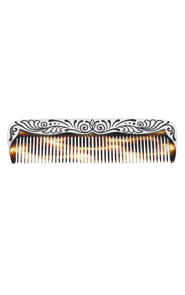 One-of-a-Kind Large Striped Tokyo Floral Comb
