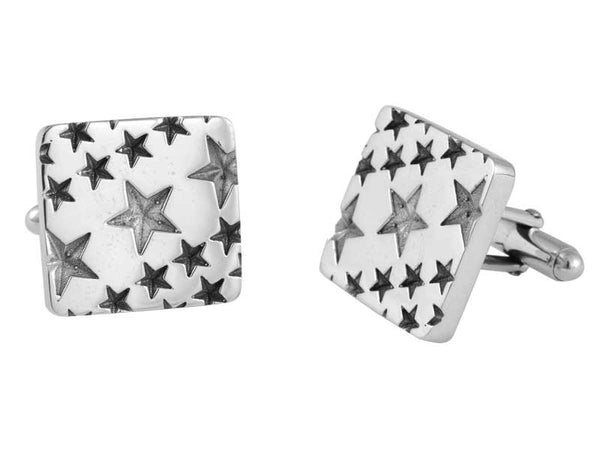 Engraved Star Pattern Cufflinks