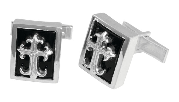 Black Onyx Cuff Links with FDL Cross