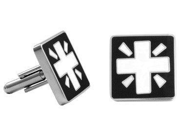 Cuff Links | Cross Enamel Cuff Links - Black and White