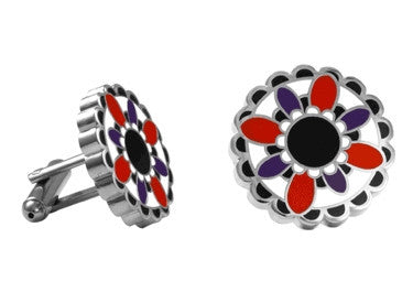 Cuff Links | Flower Enamel Cuff Links - White, Red and Purple.