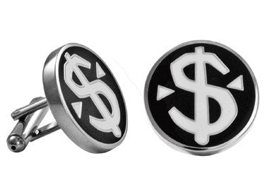 Cuff Links | Dollar Sign Enamel Cuff Links - Black and White.