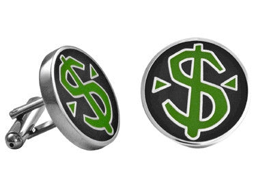 Cuff Links | Dollar Sign Enamel Cuff Links - Black and Green.