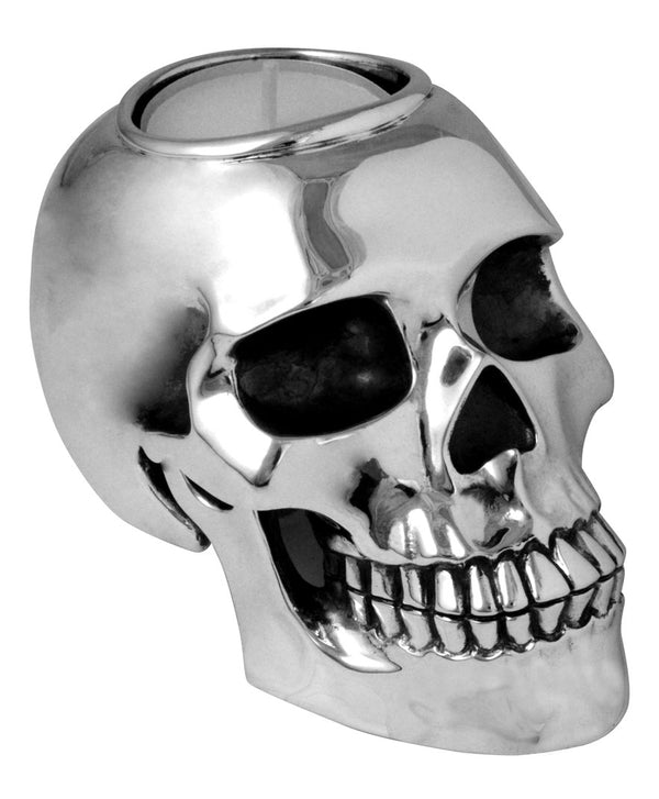 Silver Skull Candle Holder