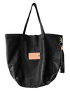 Black Leather Tote Bag with a Alloy Tassel