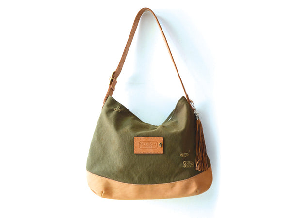 Vintage Army Canvas Shoulder Bag with a .925 Silver Tassel